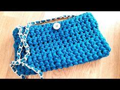 crochet PURSE HANDBAG with t-shirt yarn (tarn, zpaghetti, trapillo, totora) - YouTube