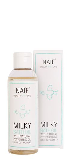NAÏF Milky Bath Oil cleanses and softens the delicate (dry) baby's skin. Made from natural ingredients. No harsh chemicals.