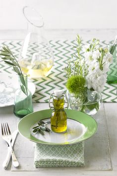 green table scape party event chevrons weddings