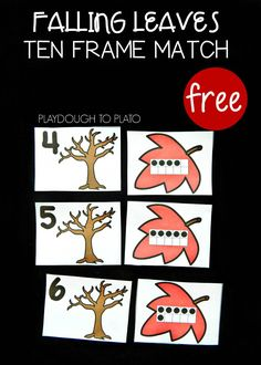 Free fall ten frame match up! Awesome math activity for preschool or kindergarten. Fun way to work on number sense!