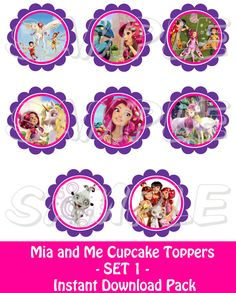 MIA AND ME PARTY - Cupcake Toppers  Mia and Me inspired  SET 1  by JustAddFrosting, $4.00