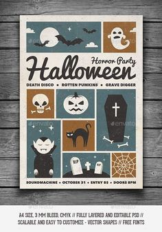 Retro Halloween Party Flyer by GraphicGoods Stylish vintage colors, grungy textures, bold typography and awesome halloween themed illustrations. This retro poster/flyer is pe Retro Halloween, Halloween Designs, Halloween Tags, Halloween Party Flyer, Halloween Poster, Halloween Invitations, Halloween Themes, Halloween Crafts, Halloween Decorations