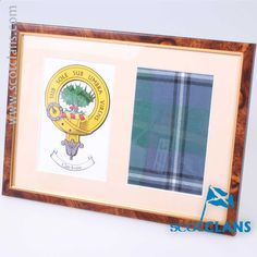 Irvine Clan Crest & Real Tartan Framed. Free Worldwide Shipping Available