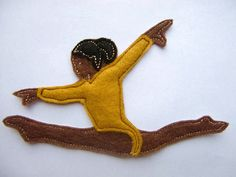 Iron On Patch Applique Brown Skinned Gymnast