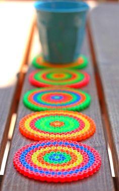 Neon Coasters -- perler beads