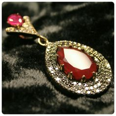 Ottoman Style Ruby & White Sapphire Pendant What an expensive looking sterling  silver, ruby and white sapphire pendant. Throw it on a chain or slide and you will look and feel  like a million dollars Without spending over 100! Vintage  Jewelry Necklaces