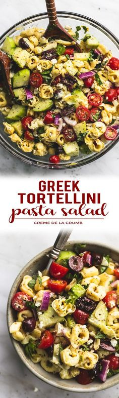 Quick and easy Greek Tortellini Pasta Salad with zesty Greek lemon dressing, fresh veggies, and hearty tortellini pasta will be your go-to potluck and dinner side dish! | lecremedelacrumb.com #Vegetariandinners,breakfastandlunches