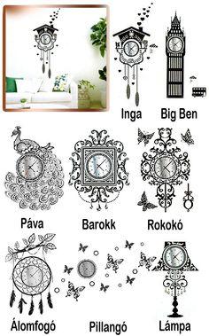 Óriás méretű faltetoválás, falmatrica órával. Varázsolj gyönyörű, látványos dekorációt a szobád falára! A matricát a fekete körvonalak és az ezüstösen...