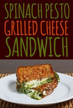 spinach pesto grilled cheese sandwich #food #recipe