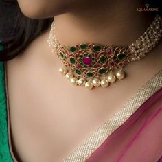 Magnicent and brilliant, this pearl choker necklace in bold green and pink with gold pearls at the bottom looks ethnic and royal. Aquamarine Jewelry, Ruby Jewelry, Jewelry Necklaces, Gold Jewellery, Jewellery Making, Pearl Necklaces, Designer Jewellery, Jewellery Designs, Handmade Jewellery