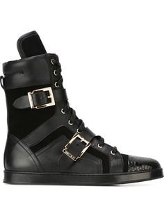 Jimmy Choo 'Brixen' hi-top sneakers Black Wedge Sneakers, Black High Top Sneakers, Black Leather Sneakers, Black High Tops, Leather High Tops, Black Shoes, Shoes Sneakers, Jimmy Choo Shoes