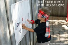 Hockey Party Activities - Pin the Puck on the Ice