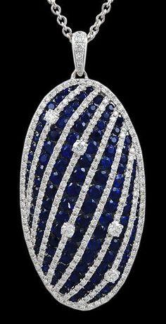 SALAVETTI Diamond & Sapphire Necklace - Yafa Jewelry