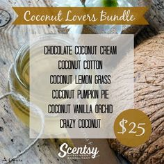 "Scentsy ""Coconut Lovers"" wax bundle for fall and winter 2016 #scentsbykris"