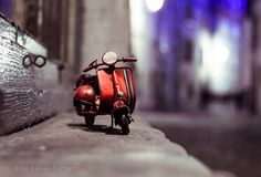 """A student at the London University of the Arts, Swiss photographer Kim Leuenberger created a series """"Traveling Cars Adventures"""". At first you may think that this series is a simply Tilt Shift Photography, Bike Photography, Object Photography, Fruit Photography, Creative Photography, Photoshop, Light And Shadow Photography, Vespa Bike, Miniature Photography"""