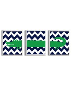 Kids Wall Art Girl Boy Art Alligator Chevron Kelly Green Navy Zoo Safari Jungle Wetlands Set of 3 each 11x14