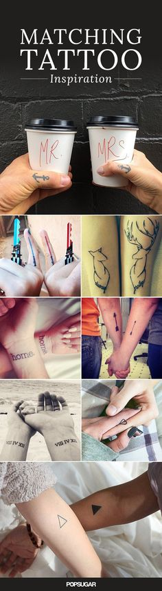 Couples' tattoos can be pretty hit or miss. We've seen corresponding full-body tattoos that form torso-sized hearts and questionable ink with indiscernible