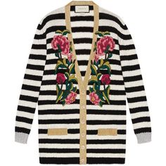 Gucci Embroidered Cashmere Wool Oversize Cardigan (8 160 PLN) ❤ liked on Polyvore featuring tops, cardigans, outerwear, jackets, sweaters, cashmere, ready-to-wear, women, ivory cashmere cardigan and stripe cardigan