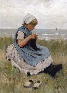 Een meisje breiend in de duinen van D.A.C. Artz (1837 - 1890)