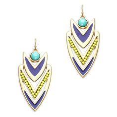 Love this! Found it on Kathy's Jewelry Boutique We love the vibrant color palette of the Eden necklace. This Aztec-inspired pair features bright green and sky blue beads, complementing gold and cobalt enamel. Showcase the striking Eden with an up-do at your next summer soiree.
