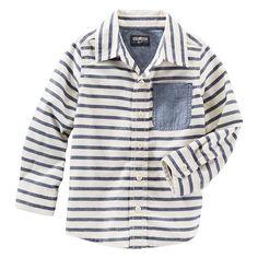 Toddler Boys OshKosh B'gosh® Striped Button-Front Shirt, Boy's, Size: 4T, Ovrfl Oth