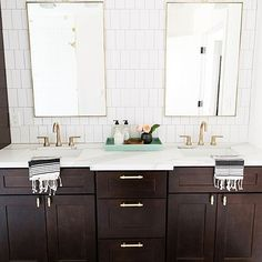 master bathroom with dark wood cabinets and his and hers sinks 3 Modern Small Bathroom Ideas - Great Dark Wood Bathroom, Dark Bathrooms, White Bathroom, Modern Bathroom, Small Bathroom, Bathroom Ideas, Bath Ideas, Bathroom Vanities, Bathroom Colors