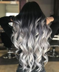 Long Silver Ombre With Stretched Black Roots ombre hair 60 Shades of Grey: Silver and White Highlights for Eternal Youth Black To Silver Ombre, Silver Ombre Hair, Ombre Hair Color, Brown And Silver Hair, Black And Blonde Ombre, Black Hombre Hair, Hair Color Gray Silver, Brown To Grey Ombre, Metallic Hair Color