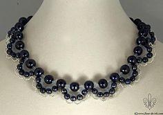 Black pearls festooned necklace N1277 by Fleur-de-Irk.deviantart.com on @deviantART