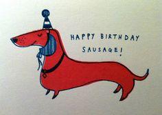 Happy Birthday Sausage! Card by k e e k i, via Flickr  My Roux, Tasso, and Tuff