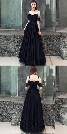Black v neck tulle long prom dress, black evening dress Wolle Kaufen,  Schwarze Abendkleider 107c15c394