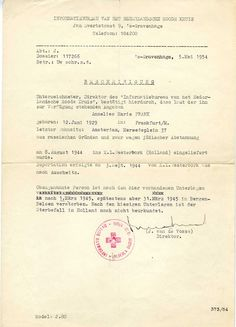 Official Red Cross declaration of Anne Frank's death, May 5, 1954.