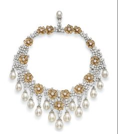 Pearl & Diamond Necklace Provenance- Princess Gabriela zu Leitungen Van Cleef & Arpels (Christies)