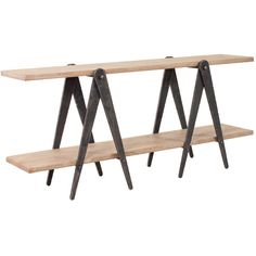 Charleston Forge Sawhorse Industrial Console Table ($3,348) ❤ liked on Polyvore featuring home, furniture, tables, accent tables, saw horse table, shelf table, charleston forge tables, industrial furniture and shelves furniture