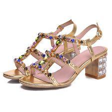 Ladies block heel faux rhinestones shinning sandals open toe slingbacks shoes