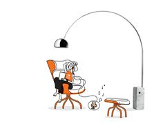 an illustrated arco designed by achille and pier giacomo castiglioni for flos arco lighting