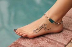 Beach anklet, sea glass anklet, silver chain anklet, anklet inch) turns into a bracelet inch) – foot tattoos for women Faith Foot Tattoos, Cute Foot Tattoos, Foot Tattoos For Women, Unique Tattoos, Body Art Tattoos, Small Tattoos, Tattoos For Guys, Foot Tattoo Quotes, Foot Tatoos
