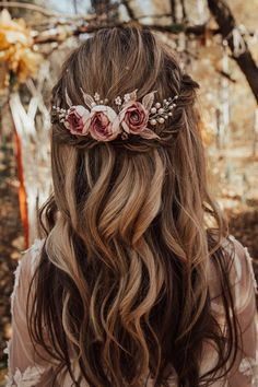 Boho bridal hair comb with handcrafted dusty pink flower and leaves Bridal boho hair piece wi. - Boho bridal hair comb with handcrafted dusty pink flower and leaves Bridal boho hair piece with dus - Boho Bridal Hair, Floral Wedding Hair, Wedding Hair Pieces, Wedding Hair And Makeup, Wedding Hair Accessories, Hair Makeup, Bridal Comb, Makeup Eyes, Boho Wedding Hair Half Up