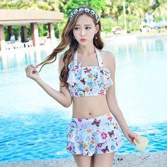 Bikini 2017 Push Up Swimming Suit For Women Girl Swimsuit Set May Beach Biquines Korean Single Woman Skirt Mayo Moda Praia