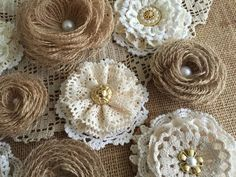 10 rustic lace and burlap handmade flowers wedding by PinKyJubb