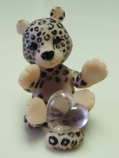 OOAK Polymer Clay Baby Valentines Cheetah with whole lotta Heart