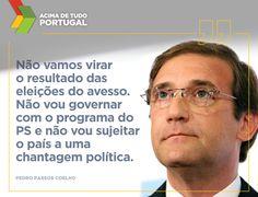 """""""Está na altura de dizer que o PS perdeu as eleições. Cabe-lhe encarar isso com humildade e reconhecer os resultados eleitorais"""", Pedro Passos Coelho.  #acimadetudoportugal"""