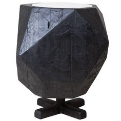 Charred NYC Water Tower Wood Dodecahedron Side Table | From a unique collection of antique and modern side tables at https://www.1stdibs.com/furniture/tables/side-tables/