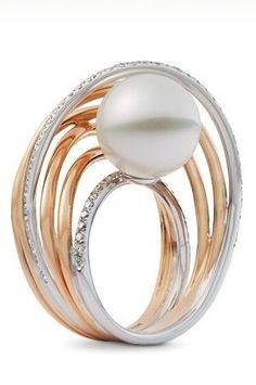 Mikimoto White South Sea Pearl and Diamond Ring