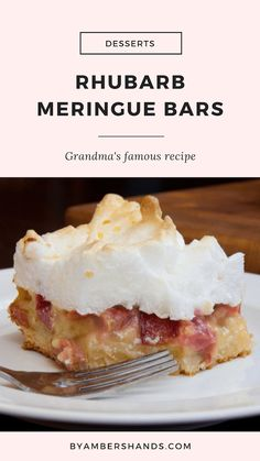 Rhubarb Meringue Bars — {My Grandma's Recipes} Rhubarb Meringue Bars -by amber's hands- Rhubarb meringue cake mRhubarb meringue pie / -KRhubarb meringue cake mi Meringue Desserts, Fun Desserts, Delicious Desserts, Dessert Recipes, Rhubarb Custard Bars, Rhubarb Meringue Pie, Strawberry Rhubarb Bars, Rhubarb Cake, Baking Recipes