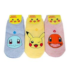 3 Pairs Set Pokemon Socks Character Pikachu, Charmander, Squirtle