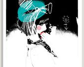 fashion illustration print green black pop art