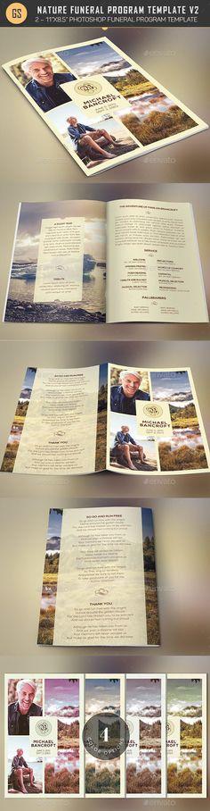 Nature Funeral Program BrochurePhotoshop Design Template v2 - Informational Brochure Template PSD. Download here: http://graphicriver.net/item/nature-funeral-program-photoshop-template-v2/16567610?ref=yinkira