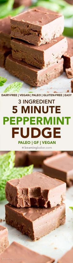 5 Minute Easy Peppermint Fudge (V, GF): a 3 ingredient recipe for creamy, thick, indulgent chocolatey fudge squares made with healthy ingredients! Takes just 5 minutes to prep, the rest is just freezing time! #Paleo #Vegan #GlutenFree #DairyFree #HealthyHolidayDesserts