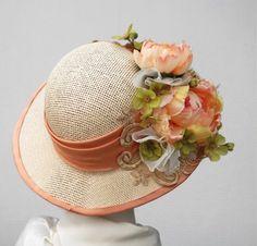 Large Flowered Sun Hat Vintage Style Wide Brim Summer Peach