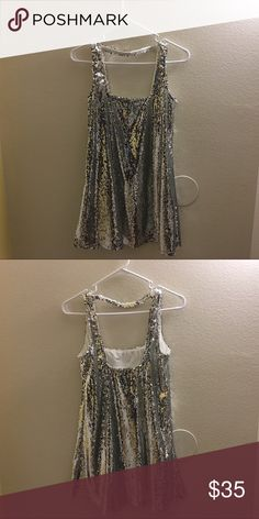 Sparkly mini dress Silver sequined mini dress in size small! Perfect for your birthday or New Years! Paris Hilton/ Kendall Jenner 21st birthday vibes 😭 super cute and never worn before! Tobi Dresses Mini